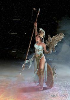 Goddess of war and wisdom Athena (Ancient Greek mythology). Athena Greek Goddess, Goddess Art, Greek Mythology Tattoos, Greek And Roman Mythology, Vikings, Athena Tattoo, Fille Anime Cool, Poseidon, Rome Antique