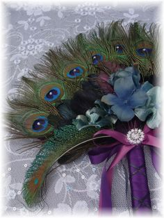 Peacock Feather Floral Fan Bouquet in your choice of by Ivyndell