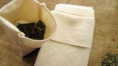 Reusable Organic Cotton Tea Bags Eco Friendly - All Organic Cotton Fabric and Thread -- 3X4 Set of 5