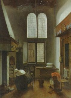 An interior of a house with a seated woman by Jacobus Vrel on artnet