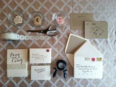 DIY Rustic Wedding Invitation #diy #vintagestamps #kraftpaper #papersource