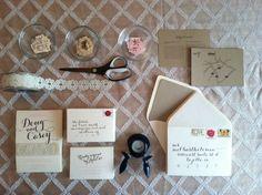 DIY Rustic Wedding Invitation #diy #vintagestamps #kraftpaper #papersource