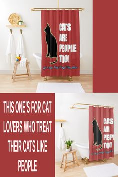 """This fun shower curtain has a cat design that says """"Cats Are People Too! At Least The Think The are!"""" This is nice for your bathroom in home decor. If you're a lover of cats this will go nicely with your other cat stuff. Elegant Shower Curtains, Cat Design, Cat Stuff, Program Design, Dog Cat, Cute Animals, Blanket, Bathroom, Pets"""