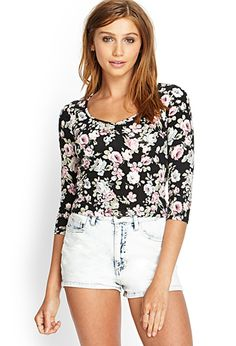 Ruched Floral Crop Top | FOREVER21 - 2000083302