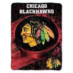 Chicago Blackhawks Blanket 46x60 Raschel Ice Dash Design Rolled