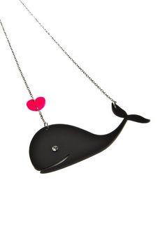 whale,love,necklace,heart,swarovski,jewelry,grey,pink,fish,plexiglass,acrylic,lasercut,bugga