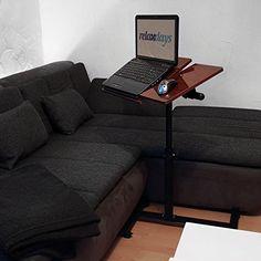 Relaxdays Laptoptisch höhenverstellbar H x B x T: 95 x 60 x 40,5 cm Sofatisch Beistelltisch mit Rollen samt Bremsen für Notebook mit Ablage für Maus hochglanz lackiert mit Antirutsch-Leiste Mahagoni (braun)