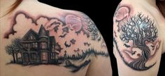 Haunted house themed tattoo with graveyard, ravens, and a spooky tree. Tattoo by Painless Jen McLellan