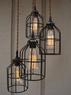 Upcycled 4 Light Industrial Pendant with Edison Style Bulbs and Bulb Cages - BenclifDesigns