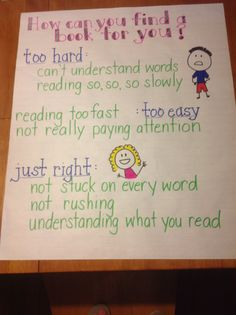 Finding a just right book anchor chart