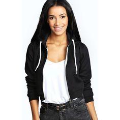 Boohoo Lorraine Crop Hoody ($20) ❤ liked on Polyvore featuring tops, hoodies, black, hooded pullover, cropped hooded sweatshirt, boyfriend hoodie, boxy crop top and black crop top