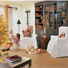 Put Out Pretty Pillows - 101 fresh christmas decorating ideas - Southern Living. Perfect pillows, make these Winter Bedroom, Beautiful Christmas Trees, Cottage Living, Diy Home, Bedroom Themes, Living Spaces, Living Rooms, Family Rooms, Living Area