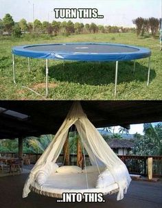 Upcycling - turn your old trampoline into a cozy outdoor swing.