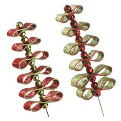 """$14-RAZ 25.5"""" Red and Lime Loop Spray Christmas Decoration Set of 2   2 Asst Red/Lime Made of Foam Measures 25.5""""  RAZ Merry Mistletoe Collection ARRIVING SUMMER 2013"""
