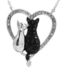 "Sterling Silver Black & White Diamond Cats Heart 18"" Necklace – Sparkle & Jade"