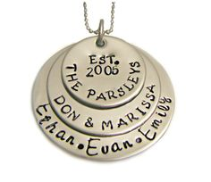 Hand Stamped Jewelry Hand Stamped StackedNecklace - Family Jewelry - Stainless Steel