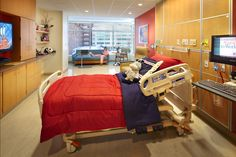 #Family-centered care recognizes that family involvement plays a critical role in #pediatric medical outcomes. #Patient rooms at the Herman  Walter Samuelson Childrens Hospital are designed to create distinct zones for caregivers, patients, and family, resulting in a larger space than a traditional adult inpatient room. Photo: Patrick Ross