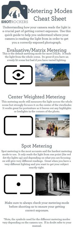 Tips Photography_Camera Metering Modes Cheat Sheet Photography Cheat Sheets, Photography Basics, Photography Lessons, Photography Camera, Photoshop Photography, Photography Business, Light Photography, Photography Tutorials, Digital Photography