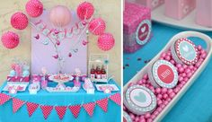 pink and turquoise party decorations | Party ideas - Deco / pink and turquoise dessert table