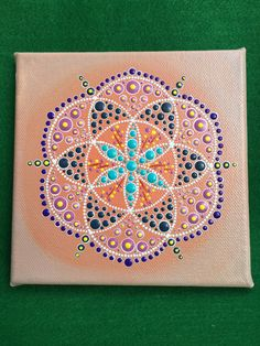 "Original Dot Art Mandala - Soft Glow - Free Postage in Australia - 6"" x 6"" Original Acrylic Painting"