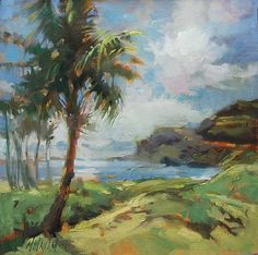 """Daily Paintworks - """"Hawaii Beach View"""" - Original Fine Art for Sale - © Mary Maxam Imagination Art, Daily Painters, Sketch Painting, Impressionist Art, Beach Art, Tree Art, Acrylic Painting Canvas, Landscape Paintings, Landscapes"""