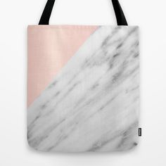 Real Carrara Italian Marble and Pink Tote Bag