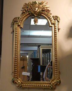 "Louis XVI Mirror in Gilt Frame. Measures 20"" x 36.5"""