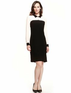 M&S Collection Contrast Collar Tunic Dress - Marks & Spencer