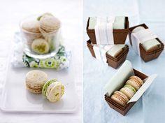 Cannelle et Vanille- great macaron packaging, paper mini loaf pans w/ parchment & ribbon
