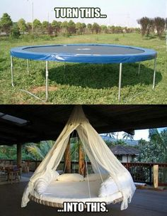 Old trampoline to swing bed