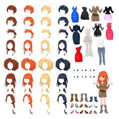 Avatar de uma mulher vetor objetos isolados 7 Penteados com 4 cores cada um 10 vestidos diferentes 6 olhos cores 9 sapatos Vetor grátis