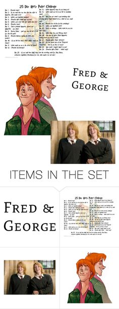 """""""Day 16: Fred and George"""" by stella-de-luna-fashion ❤ liked on Polyvore featuring art"""