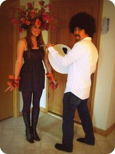 Hilarious! Fun couples' costume!  Bob Ross & a happy little tree! This is great.