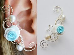 Shop put favorites, we often have discounts and promotions! Pls, keep an eye on the store - https://www.etsy.com/ru/shop/EarringsEarcuffs I make a gift with every order :) Handmade products always attract the attention of a unique author's design. Flowers earrings in the same from our shop and does look as if alive and tore buds preserved in their original form. In large earrings ear cuffs, occupying the whole ear, floral arrangements look like a fine hedge. Flower ear cuffs on this photo…
