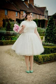 "Gorgeous Carina in her House of Mooshki ""Audrey"" bespoke spot tulle tea length gown with cap sleeves and lace appliqué"