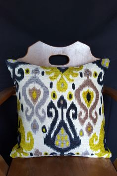 Modern Ikat Citron and Taupe Pillow Cover Ikat Pillows, Tea Cozy, Best Stretches, Cotton Velvet, Needlework, Taupe, Pillow Covers, Handmade Gifts, Open Floor