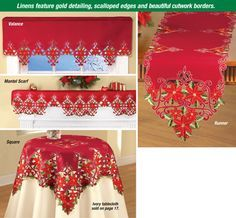 Decorative Red Embroidered Holiday Poinsettia Table Linens