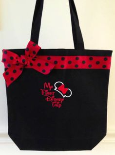 "Our ""My First Disney Trip"" tote bag is great for any little one getting ready for one amazing vacation at Disney World!   Our tote bag can also be changed to have pink lettering/pink ribbon and bow.  If you would like this bag for a boy please let us know and we can just embroider the Mickey Ears without the bow :)   www.facebook.com/gigglesandwigglestutus"