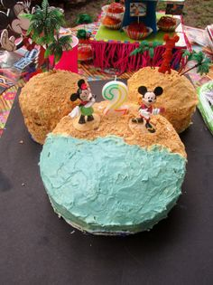 Minnie Mouse Luau cake: For sand use brown sugar and or mashed up graham crackers