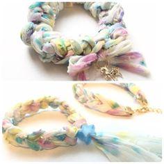 ギルドバイピーオーディー ゆめかわいいシュシュとブレスレット作り方 Fabric Crafts, Sewing Crafts, Diy Accessories, Scrunchies, Hair Ties, Handicraft, Diy And Crafts, Projects To Try, Crochet