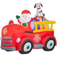 Gemmy�Inflatable Airblown-Santa Driving Fire Truck Outdoor Christmas Decoration with Incandescent White Lights $90