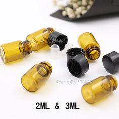 1ml/2ml/3ml/5ml Brown Glass Bottle, Mini Sample Bottle, Amber Glass Bottle With Black Cap, Essential Oil Bottle 100PCS #Affiliate