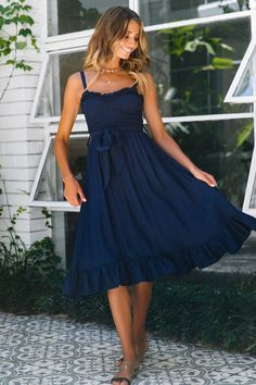 Seize the moment and make it yours in our Linda Vista Midi Dress! This super sweet midi features thick adjustable shoulder straps, a ruched bust, sweetheart neckline and frill trimming throughout. Club Dresses, Prom Dresses, Summer Dresses, Long Dresses, Navy Midi Dress, The Dress, Stylish Dresses, Casual Dresses, Casual Outfits