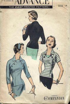 Advance 7798 Vintage 1950s Diagonal Front Button Blouse