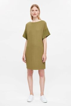COS image 4 of Dress with silk cuffs in Olive Green