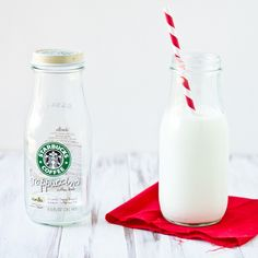 DIY Milk Bottle Photo Prop by foodiebride | I like this, but rather than having a plain clear bottle, I want to collect a bunch and dip them in paint. And rather than using them for photo props, I'm going to use them all the time. With straws. Always.