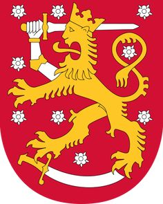Coat of arms of Finland. The coat of arms of Finland is a crowned lion on a red field, the right foreleg replaced with an armoured hand brandishing a sword, trampling on a sabre with the hindpaws. The coat of arms was originally created around the year Barbados Wedding, Barbados Travel, Singapore Travel, National Animal, Banner, Lappland, Sweden Travel, Family Crest, Crests