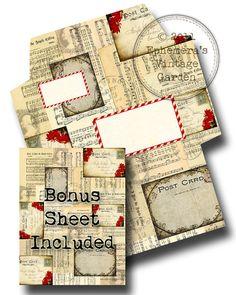 Printable Christmas Envelope with BONUS 8.5 x by EphemerasGarden