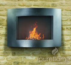 Pureflame Adena Wall Mount Bio-Ethanol Fireplace – Home Alley Biofuel Fireplace, Bioethanol Fireplace, Fireplace Mantels, Wall Fireplaces, Fireplace Vent, Indoor Fireplaces, Stone Fireplaces, Fireplace Ideas, Fireplace Design