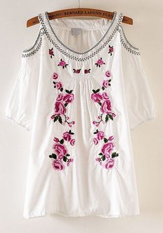 White Floral Embroidery V-Neck Half Sleeve Cotton T-Shirt